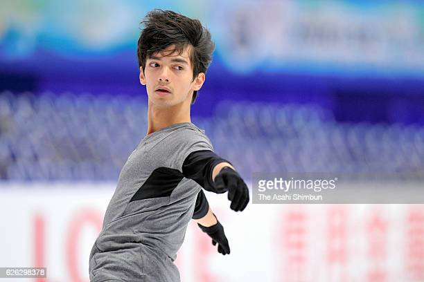 Ryuju Hino of Japan in action during a practice session prior to competing in Men's Singles free skating during day two of the ISU Grand Prix of...