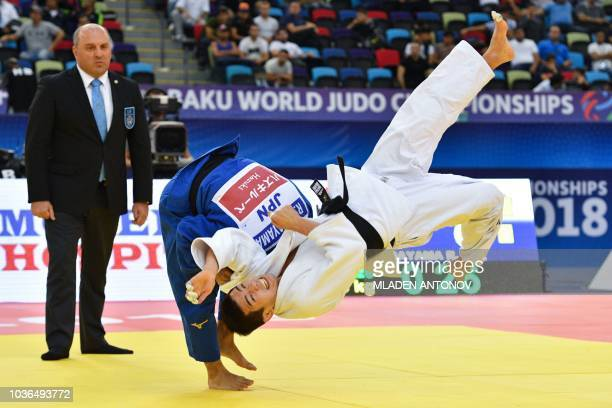 TOPSHOT Ryuju Nagayama fights for the bronze medal against Lee Harim of Korea during the Men 60kg category of the 2018 Judo World Championships in...