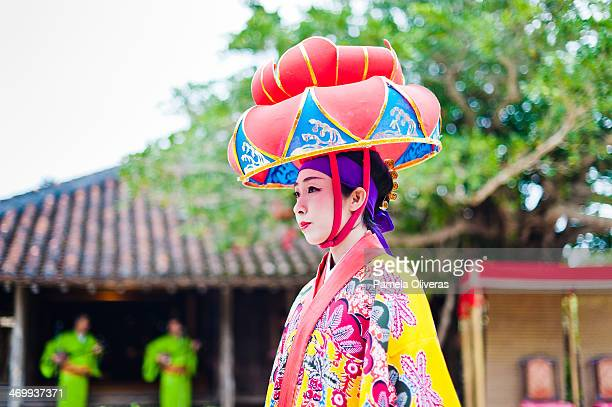 ryukyu lady in a hat - okinawa prefecture stock pictures, royalty-free photos & images