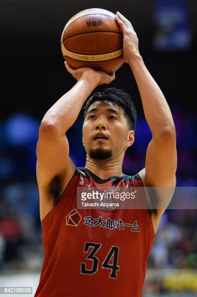 Ryumo Ono of the Chiba Jets shoots a free throw during the BLeague Kanto Early Cup final between Alvark Tokyo and Chiba Jets at Funabashi Arena on...