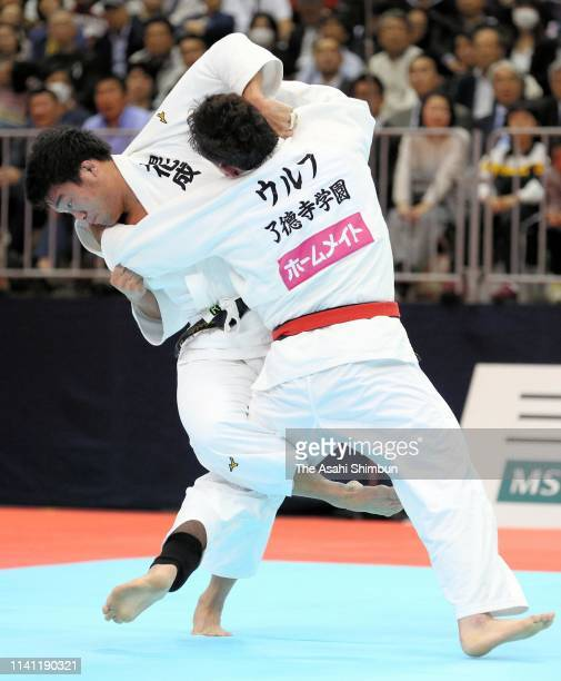 Ryunosuke Haga and Aaron Wolf compete in the Men's 100kg final on day one of the All Japan Judo Championships By Weight Category at the Fukuoka...