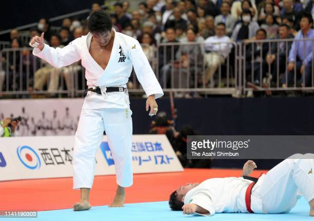 Ryunosuke Haga celebrates his victory over Aaron Wolf in the Men's 100kg final on day one of the All Japan Judo Championships By Weight Category at...