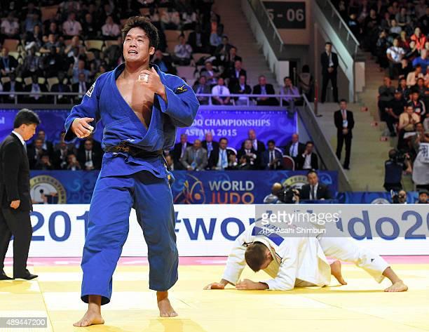 Ryunosuke Haga of Japan celebrates winning gold in the Men's 100kg final against KarlRichard Frey of Germany during the 2015 Astana World Judo...