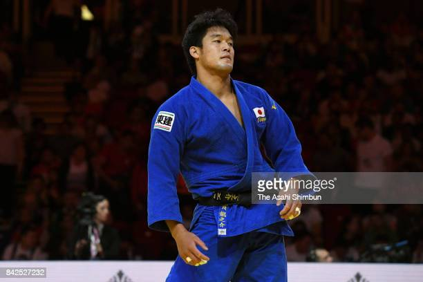 Ryunosuke Haga of Japan reacts after his defeat by Kazbek Zankishiev of Russia in the Men's 100kg second round during day six of the World Judo...
