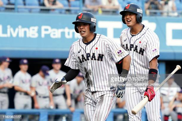 Ryusei Ogawa of SAMURAI JAPAN celerates after scoring in the bottom half of the first inning during the game one of the Collegiate Baseball...