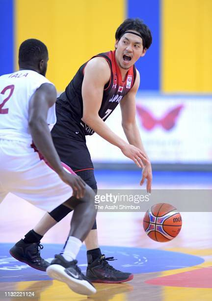 Ryusei Shinoyama of Japan is seen prior to the FIBA World Cup Asian Qualifier 2nd Round Group F match between Qatar and Japan on February 24 2019 in...