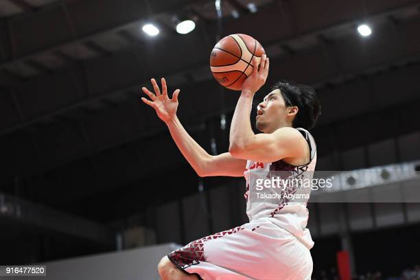 Ryusei Shinoyama of the Kawasaki Brave Thunders goes up for a shot during the BLeague match between Alverk Tokyo and Kawasaki Brave Thunders at the...