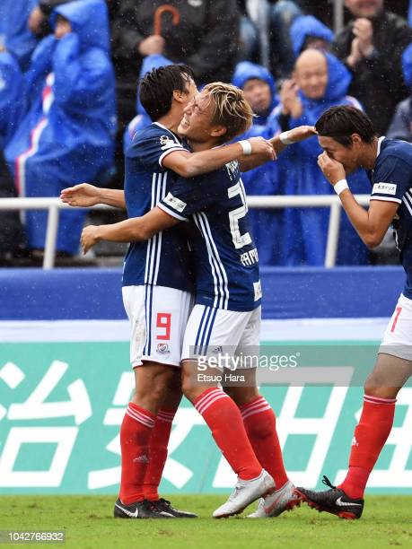 Ryusuke Yamanaka of Yokohama F.Marinos celebrates scoring his side's first goal during the J.League J1 match between Yokohama F.Marinos and Vegalta...