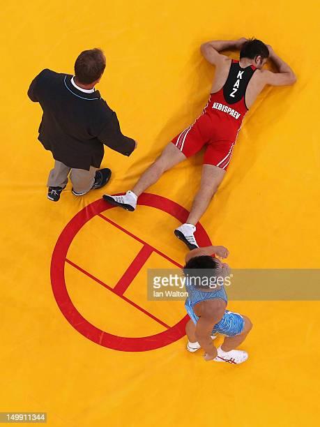 Ryutaro Matsumoto of Japan beats Almat Kebispayev of Kazakhstan during their Men's GrecoRoman 60kg Bronze Medal bout on Day 10 of the London 2012...
