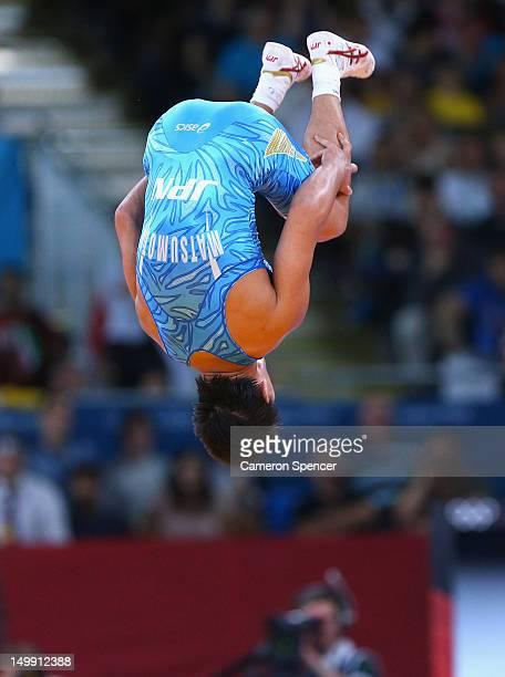 Ryutaro Matsumoto of Japan celebrates beating Almat Kebispayev of Kazakhstan in their Men's GrecoRoman 60 kg Bronze Medal bout on Day 10 of the...