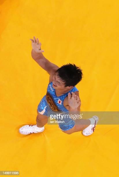 Ryutaro Matsumoto of Japan celebrates beating Almat Kebispayev of Kazakhstan during their Men's GrecoRoman 60kg Bronze Medal bout on Day 10 of the...
