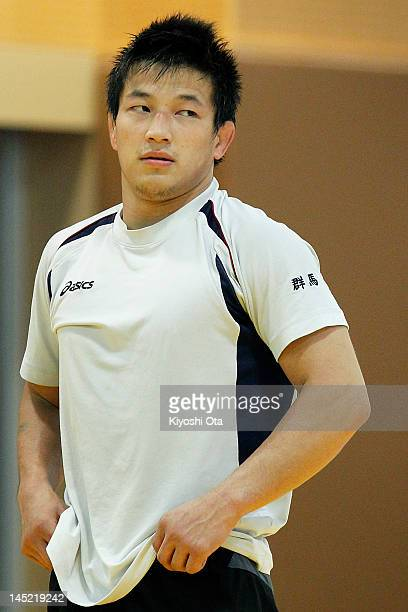 Ryutaro Matsumoto of Japan takes part in the training session for the Japan Men's wrestling team for the London 2012 Olympic Games at the National...