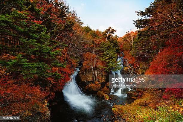 ryuzu falls in autumn - nikko city stock pictures, royalty-free photos & images