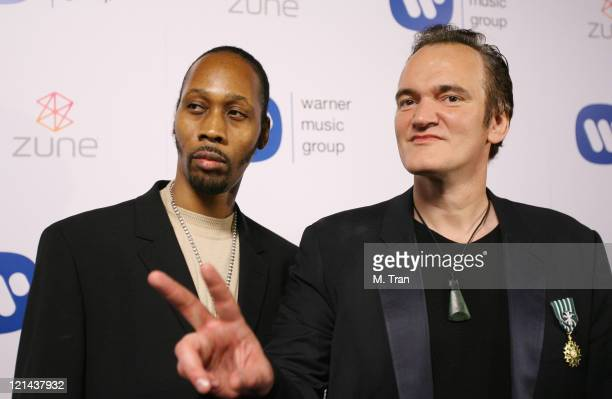 Rza of WuTang Clan and Quentin Tarantino during 49th Annual GRAMMY Awards Warner Music Group After Party at The Cathedral in Los Angeles California...