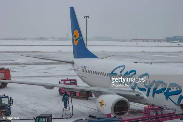 Rzeszov, Poland - Refuelling of jet plane at airport