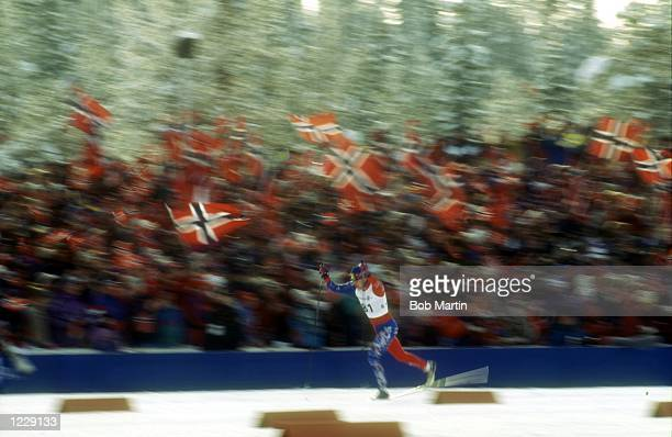 MEN's 10K CROSS COUNTRY WITH AN OCEAN OF NORWEGIAN FLAGS TO SUPPORT HIM AT THE 1994 LILLEHAMMER WINTER OLYMPICS Mandatory Credit Bob Martin/ALLSPORT