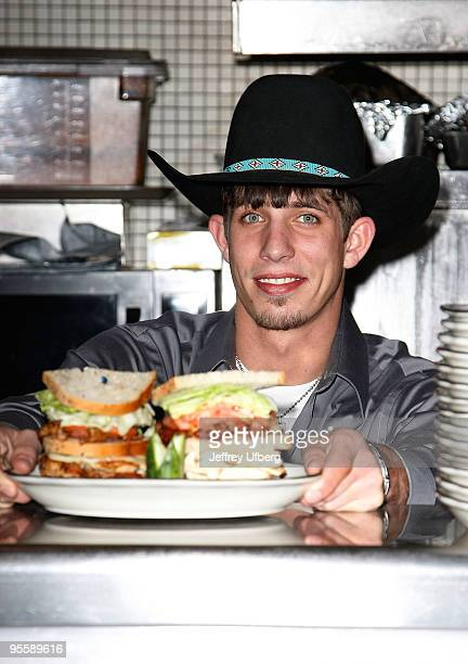 PBR's 2009 World Champ runner up JB Mauney unveils the PBR Bull Bucking Hero at the Stage Deli on January 5 2010 in New York City