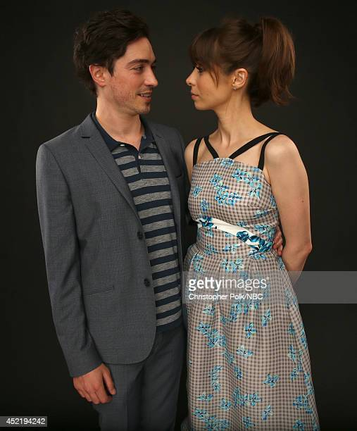 NBC's A to Z actors Ben Feldman and Cristin Milioti pose for a portrait during the NBCUniversal Press Tour at the Beverly Hilton on July 13 2014 in...
