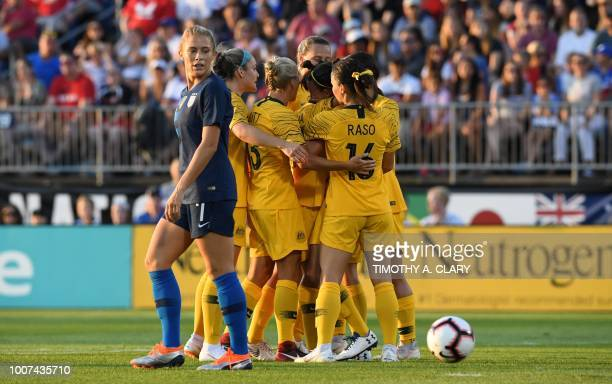 USA's Abby Dahlkemper reacts after Australia scored during the 2018 Tournament of Nations at Pratt Whitney Stadium at Rentschler Field on July 29...