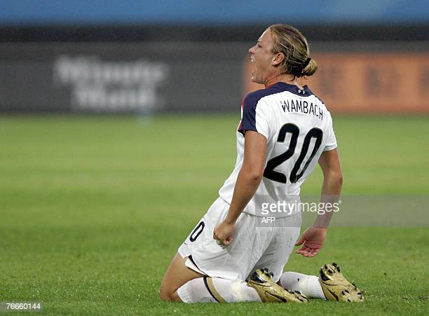 USA's Abby Wambach celebrates her goal during a group B match USA vs North Korea in the Women's Football World Cup 2007 in Chengdu in China's...