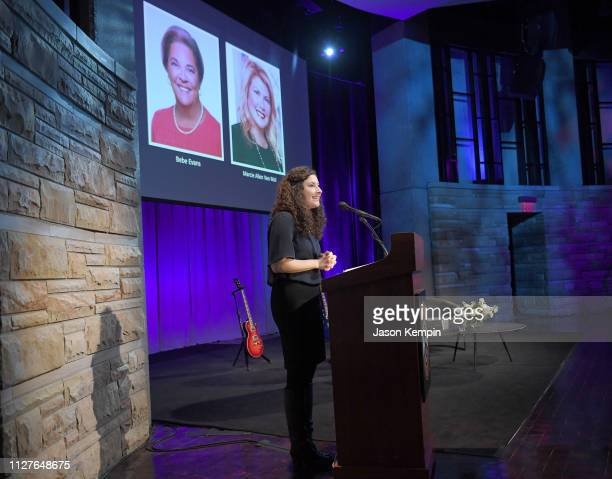 CMT's Abi Tapia speaks onstage during the Twelfth Annual Louise Scruggs Memorial Forum honoring Bebe Evans and Marcie Allen Van Mol hosted by the...