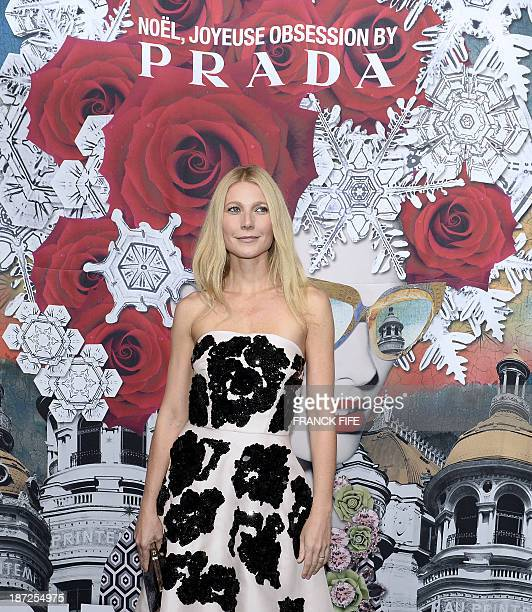 USA's actress Gwyneth Paltrow poses before launching Paris' department store 'Printemps Haussmann' Christmas decorations on November 7 2013 in Paris...