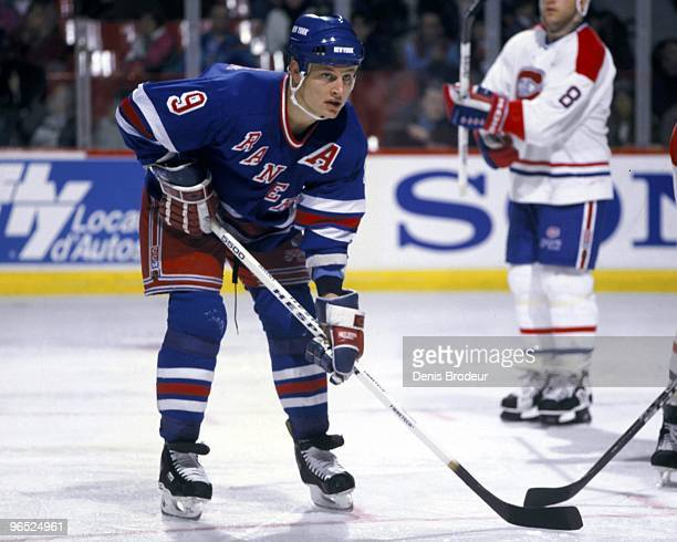 MONTREAL 1990's Adam Graves of the New York Rangers skates against the Montreal Canadiens in the 1990's at the Montreal Forum in Montreal Quebec...