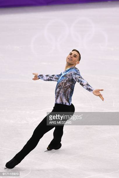 S Adam Rippon competes in the figure skating team event men's single skating free skating during the Pyeongchang 2018 Winter Olympic Games at the...