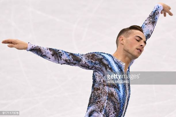 USA's Adam Rippon competes in the figure skating team event men's single skating free skating during the Pyeongchang 2018 Winter Olympic Games at the...