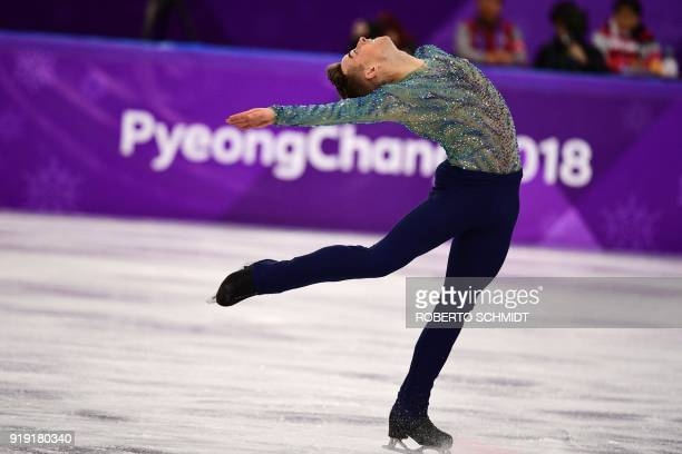 USA's Adam Rippon competes in the men's single skating free skating of the figure skating event during the Pyeongchang 2018 Winter Olympic Games at...