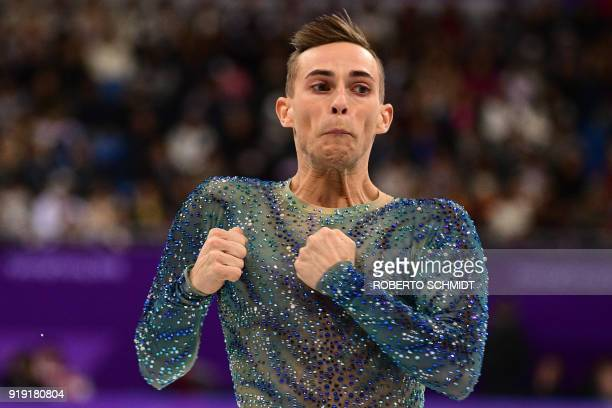 S Adam Rippon competes in the men's single skating free skating of the figure skating event during the Pyeongchang 2018 Winter Olympic Games at the...