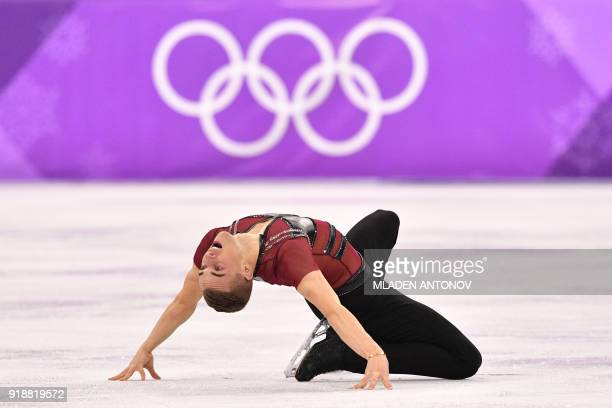TOPSHOT USA's Adam Rippon competes in the men's single skating short program of the figure skating event during the Pyeongchang 2018 Winter Olympic...