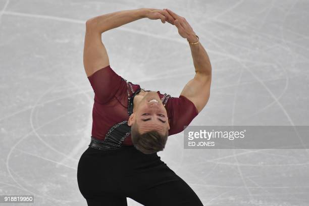 S Adam Rippon competes in the men's single skating short program of the figure skating event during the Pyeongchang 2018 Winter Olympic Games at the...