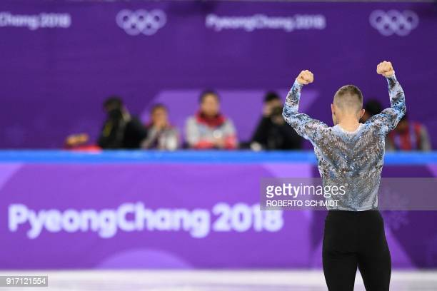 S Adam Rippon reacts after competing in the figure skating team event men's single skating free skating during the Pyeongchang 2018 Winter Olympic...