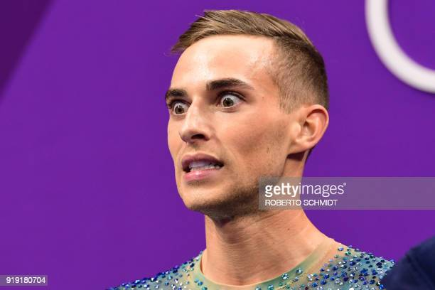 S Adam Rippon reacts after competing in the men's single skating free skating of the figure skating event during the Pyeongchang 2018 Winter Olympic...
