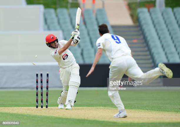 SA's Adam Zampa clean bowled by Trent Copeland during day one of the Sheffield Shield match between South Australia and New South Wales at the...