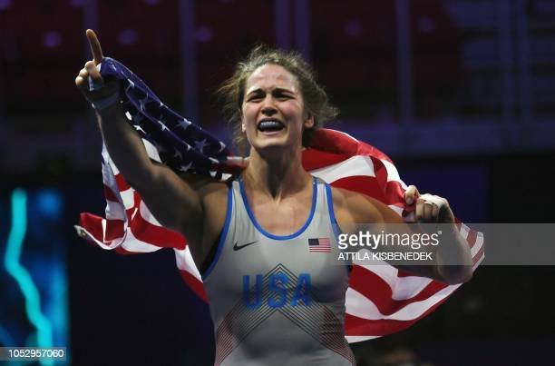 USA's Adeline Maria Gray celebrates her victory over Turkey's Yasemin Adar during the final of women's freestyle wrestling 76 category at the World...