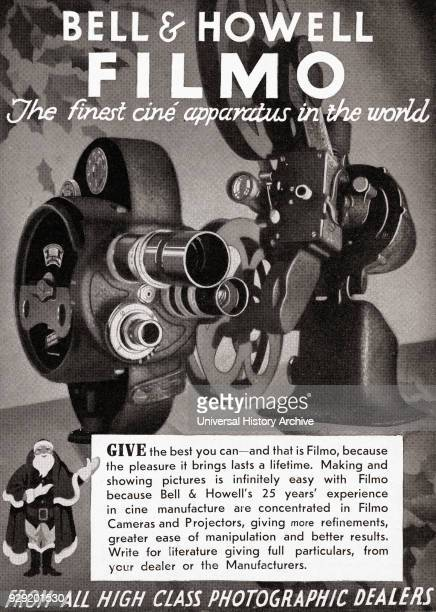 1930's advertisement for the Bell and Howell Filmo cine camera From The Illustrated London News Christmas Number 1933