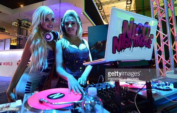DJ's Aimee Rose and Nicolette Nightingale spin the tunes on day two at the annual E3 video game extravaganza in Los Angeles California on June 11...