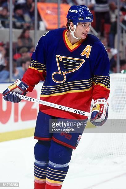 BOSTON MA 1990's Al MacInnis of the St Louis Blues skates against the Boston Bruins at TD Banknorth Garden