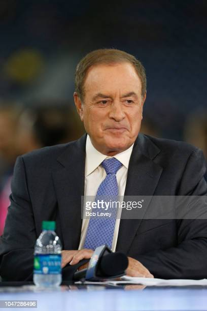 NBC's Al Michaels prepares for the Sunday night game between the Dallas Cowboys and Houston Texans at NRG Stadium on October 7 2018 in Houston Texas