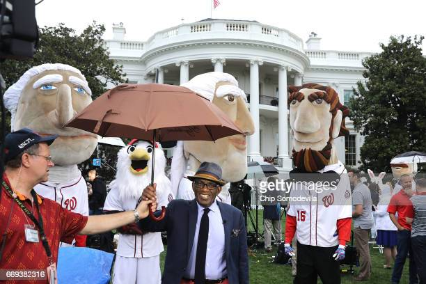 NBC's Al Roker is joined by the Washington National's Racing Presidents during the 139th Easter Egg Roll on the South Lawn of the White House April...