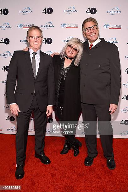 MTV VJ's Alan Hunter Nina Blackwood and Mark Goodman attend the TJ Martell 40th Anniversary NY Gala at Cipriani Wall Street on October 15 2015 in New...