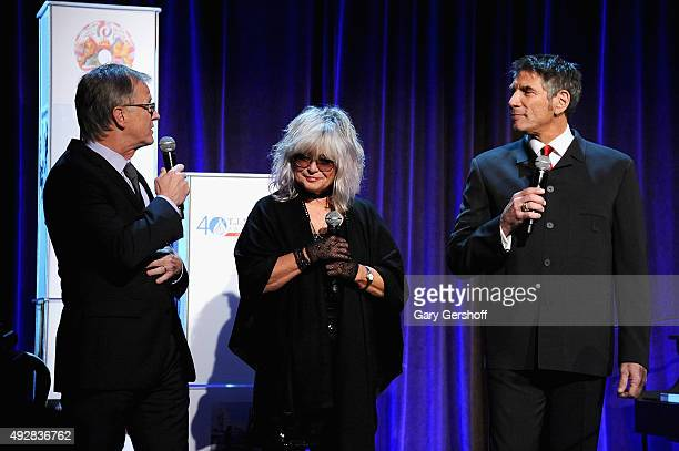 MTV VJ's Alan Hunter Nina Blackwood and Mark Goodman speak onstage at the TJ Martell 40th Anniversary NY Gala at Cipriani Wall Street on October 15...