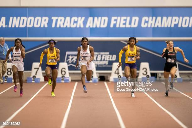 LSU's Aleia Hobbs takes 1st in the Women's 60 Meter Dash with a time of 712 edging out Auburn's Jonielle Smith 715 and Georgia's Kate Hall 717Q...