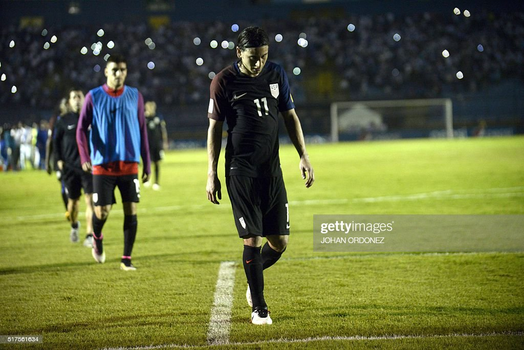 USA's Alejandro Bedoya leaves the field in dejection after being defeated by Guatemala 2-0 in a Russia 2018 FIFA World Cup Concacaf Qualifiers' football match, in Guatemala City, on March 25, 2016.