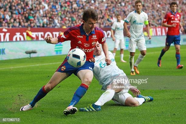 CSKA's Aleksandr Golovin and Zenit's Javi Garc��a fight for the ball during Russian Cup final match between CSKA Moscow vs Zenit St Petersburg at...