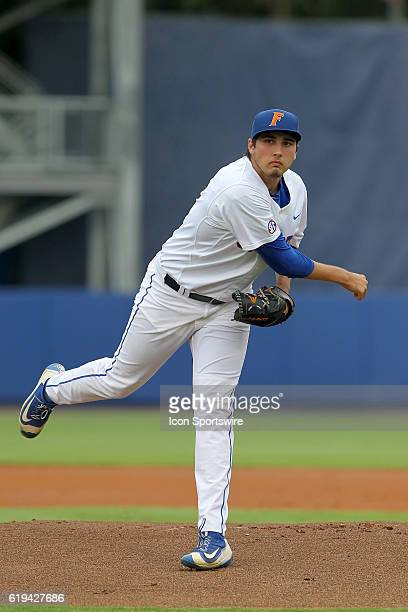 S Alex Faedo during the NCAA Super Regional game between the Florida State Seminoles and the Florida Gators at Alfred A. McKethan Stadium in...