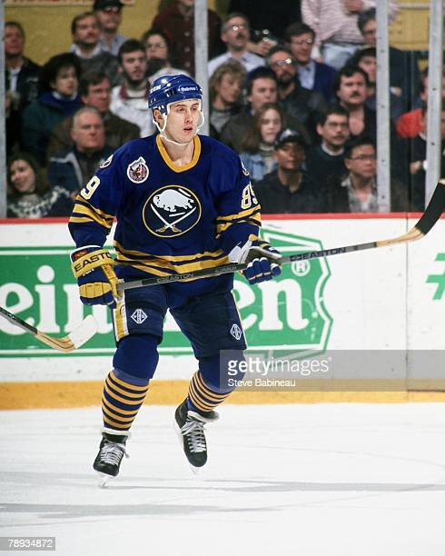 BOSTON MA 1990's Alex Mogilny of the Buffalo Sabres plays against the Boston Bruins