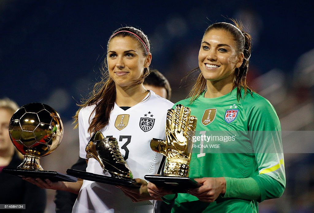 USA's Alex Morgan (L) and Hope Solo (R) pose with their trophies after winning the SheBelieves Cup soccer tournament March 9, 2016 in Boca Raton, Florida. / AFP / RHONA